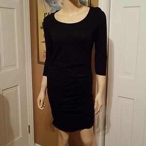 Express Black Ruched Sides 3/4 Sleeve Dress Small